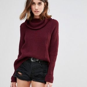 Free People Sidewinder Wool Cowl Neck Sweater S